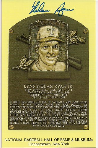 Autographed Nolan Ryan Hall Of Fame Gold Plaque
