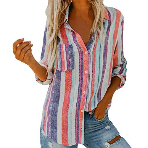 Button Down Shirt,Toimoth Womens Long Sleeve Stripe Print Fashion Blouse T-Shirt Blouse Tank Tops(Pink,M)