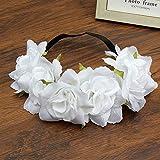 New Big Simulation Flower Elastic Hair Bands Women 6 Colors Easter Hair Accessories Wreath Headband Girls Headdress White
