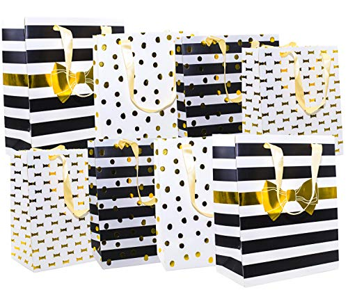 Gold Black White Gift Bags with Handles Modern Design 8 Pack, Medium, 10 x 8 x 4.75 Inches (Eve Bags Christmas Gift)