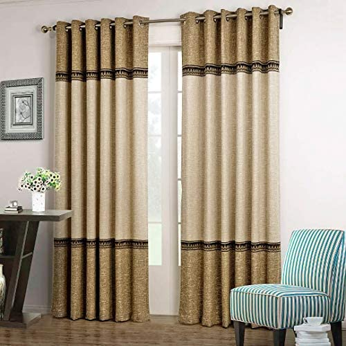 Dreaming Casa 1 Panel Grommet Top Solid Polyester Window Curtain Treatment Beige Brown Two Tone 52″ W x 96″ L