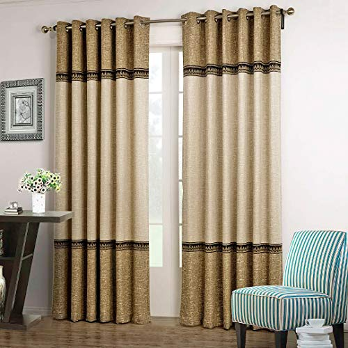 2 Tone Room - Dreaming Casa 1 Panel Grommet Top Solid Polyester Window Curtain Treatment Beige&Brown Two Tone 52