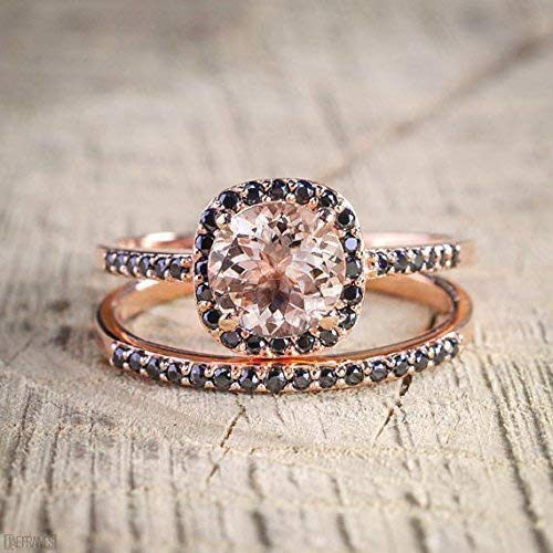 Beautiful 1.25 Carat Morganite and Black Diamond Engagement Ring Set in Rose Gold (In Gold Diamond Rings)