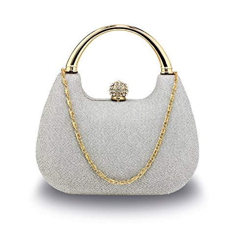 Ladies Box 2 Diamante Handbag For Glitter Hardcase Evening Silver Bag Club Wedding Women Clutch Party Crystal Design IqfRwSxX