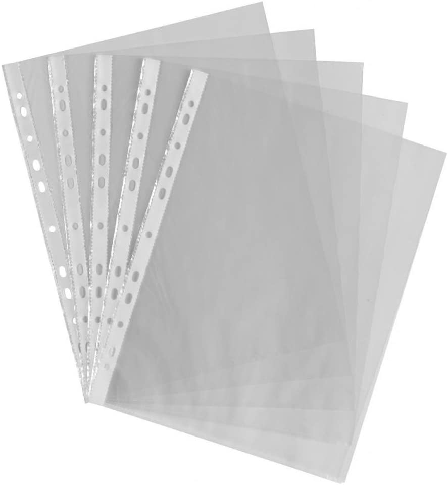 100/x crazygadget Kunststoff klar A4/Polypropylen Poly Pocket Wallet Sleeve Top Offen f/ür Dokument Papier gestanzt