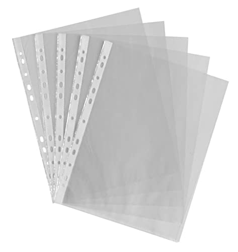 Smco 100 X A4 CLEAR PLASTIC PUNCH PUNCHED POCKETS FOLDERS FILING WALLETS SLEEVES