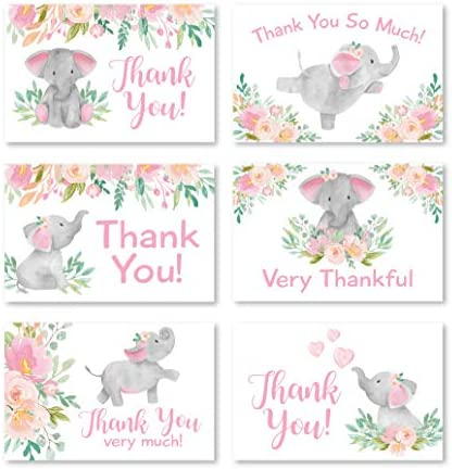 24 Pink Floral Elephant Baby Shower Thank You Cards With Envelopes, Kids Thank You Note, Vintage Animal 4×6 Varied Gratitude Card Pack For Party, Kids Girl Children Birthday, Modern Event Stationery
