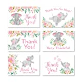 24 Pink Floral Elephant Baby Shower Thank You Cards With Envelopes, Kids Thank You Note, Vintage Animal 4x6 Varied Gratitude Card Pack For Party, Kids Girl Children Birthday, Modern Event Stationery: more info