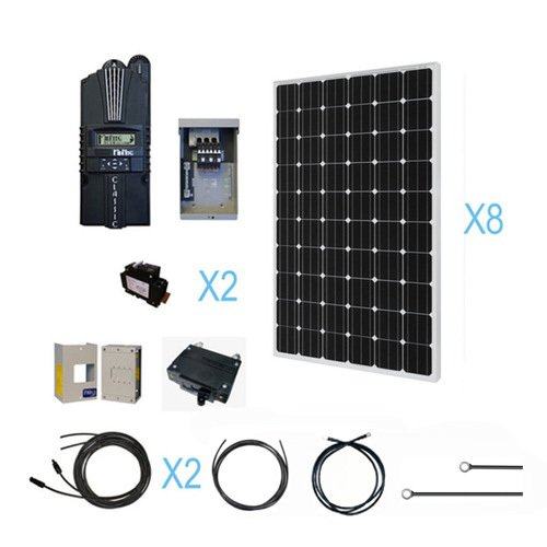 RENOGY 2000W Monocrystalline Cabin Solar Kit: 8 250W Mono Solar Panels (free upgrade to 255w) + 1 Midnite MPPT Controller + 2 Pairs of 40Ft MC4 Adaptor Kits + Combiner Box and 2 Breakers