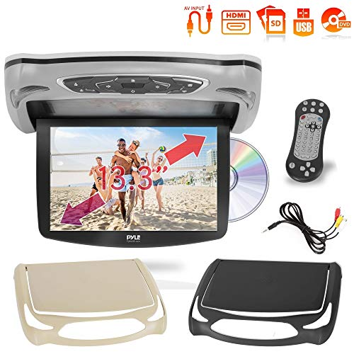 Car Roof Mount DVD Player Monitor 13.3 inch Vehicle Flip Down Overhead Screen- HDMI SD USB Card Input with Built-in IR Transmitter for Wireless IR Headphone, 3 Style Colors - Pyle PLRD146 ()