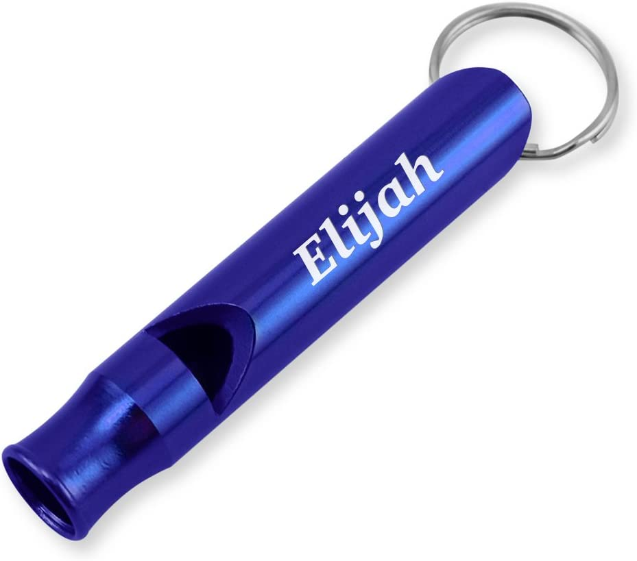 Dimension 9 Laser Engraved Anodized Elijah Metal Safety//Survival Whistle with Key Chain