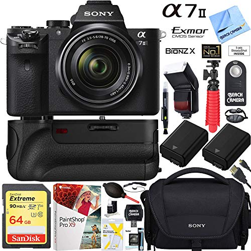 Sony a7 II 24.3MP Full-Frame Mirrorless Interchangeable Lens Camera with 28-70mm OSS Lens + 32GB Battery Grip and Dual Battery Pro Video Bundle