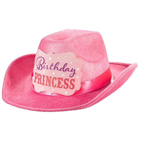 [Pretty in Pink Birthday Princess Cowboy Hat Party Accessory, Fabric, 5