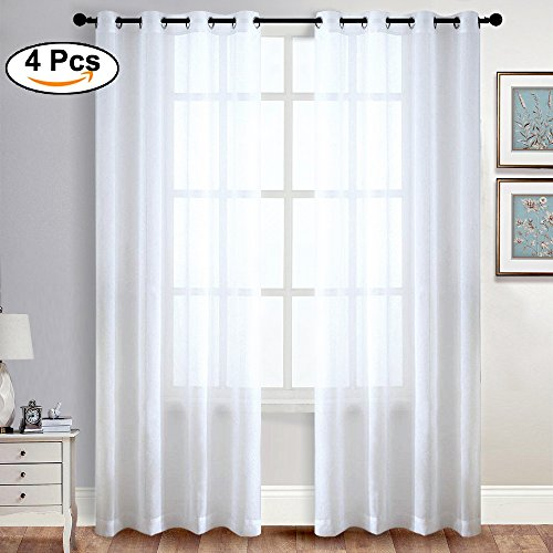 RYB HOME White Window Sheer Curtain Drapes Luxurious Tulle R