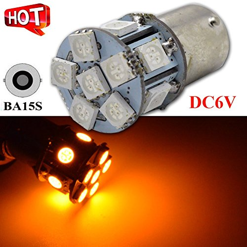 Ruiandsion 2pcs 1156 5050 BA15S LED Bulb 5050 12SMD Chipsets White/Amber/Red Car Lamp Automotive Bulb 6V 12V 24V Replacement Bulb for Reverse light, Turn signal light, Tail light (6V, Amber)