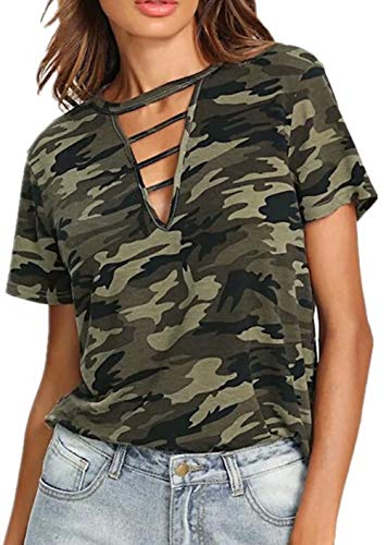 (Camo Lace Up Shirt Women Camouflage Print Hollow Out Short Sleeve Fit Casual Summer Tshirt Tops Size M (Green) )