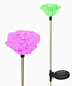 Lovely Brilliant Solar Rose Lights Rose Flowers Garden Stakes (Set of 2) with Exquisite Design