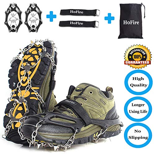 HoFire [Upgraded Ice Walk Traction Cleats Snow Grips Anti Slip Stainless Steel Spikes Crampons with 18 Spikes for Walking, Jogging, Climbing and Hiking M/L/XL (18 Teeth Black, XL)