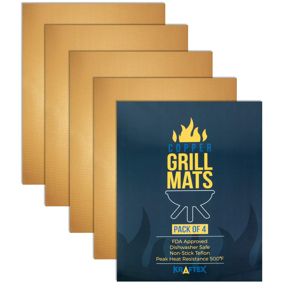 Kraftex Copper Grill Mats Large 4 Pack. Non Stick Teflon Fibre for BBQs, Outdoor Grills, Gas, Ovens & Baking. [FDA Approved] Non Stick Heat Resistant Grilling Accessories. Reusable & Easy to Clean