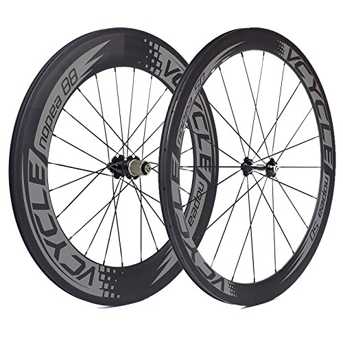 VCYCLE Nopea 700C Road Bike Carbon Wheel Clincher Front 50mm Rear 88mm Shimano or Sram 8/9/10/11 Speed (Clincher Rear Wheel)