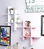 Onlineshoppee White And Pink MDF Wall Shelves - Set Of 2