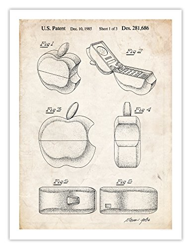 APPLE LOGO PHONE POSTER 1985 US Patent Art Print Apple Computer Steve Jobs Cell Phone Reproduction Gift, 18 by 24 Inches