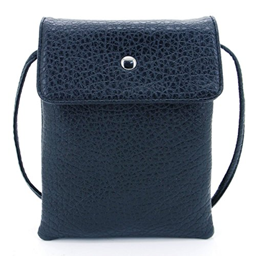 u-times-womens-small-embossed-pu-leather-smart-phone-holder-pouch-single-shoulder-travel-purseblack