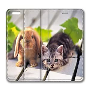 LGTOO Iphone 6 leather Case,Iphone 6 Cases ,The rabbit and cat Custom Iphone 6(4.7)High-grade leather Cases