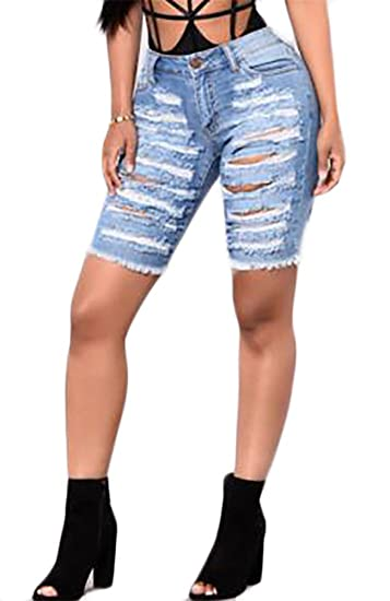 271b956cabb Cromoncent Womens Ripper Denim Knee Lenght Skinny Butt-Lift Hot ...
