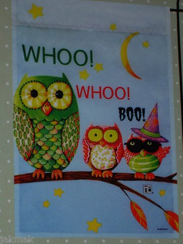 Mary Engelbreit Halloween Owls Whoo ! Whoo! Boo! Mini Flag 12