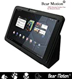 Bear Motion 100% Real Leather Case for For Motorola Xoom 10.1 inch tablet (3G & 4G WI-FI 16 GB 32 GB 64 GB) - Xoom Case Google Android 3.0 Honeycomb Black (NOT Compatible with XOOM Family and XOOM 2)