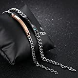 Mens Womens Stainless Steel His King and Her Queen Couples Chain Bracelet Valentines Gift (Rose Gold & Black)