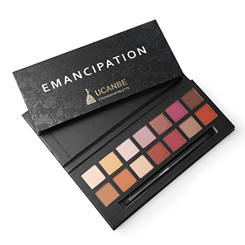 14 Colors Highly Pigmented Matte + Shimmer Eyeshadow Palette - Nude Neutral Red Orange Yellow Green Bright Metallic Glitter Smokey Eye Shadow Makeup