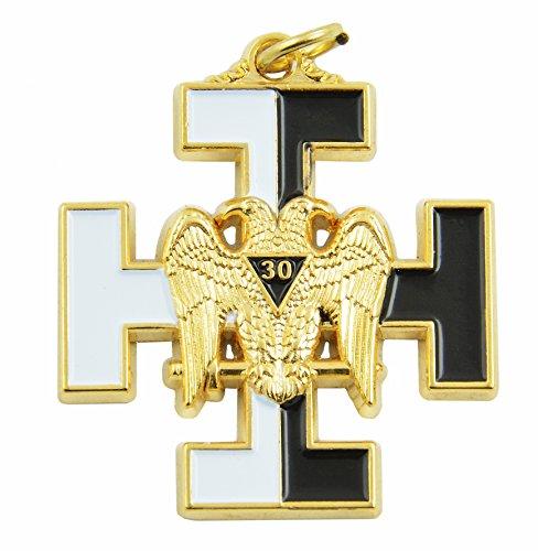 - The Masonic Exchange 30th Degree Double Headed Eagle with Teutonic Cross White & Black Pendant/Jewel - 1 1/2