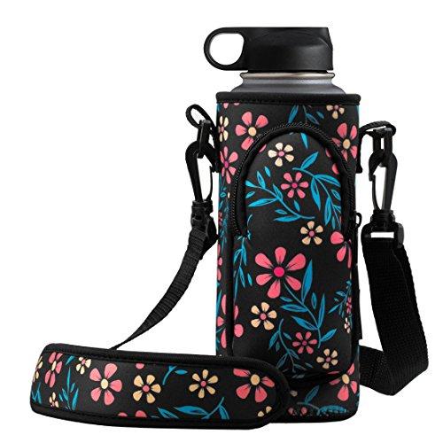RoryTory Neoprene Water Bottle Sleeve Carrier Holder with Shoulder Strap, Pouch, Pocket & Carrying Handle (Fits 32oz / 40oz Hydro Flask, Nalgene, Juglug, Contigo, etc) - Flower Design
