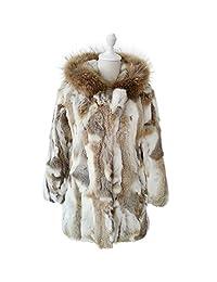 ETHEL ANDERSON Women Fur Rabbit Fur Coat, Long Jacket Overcoat With Raccoon Fur Hood Garment