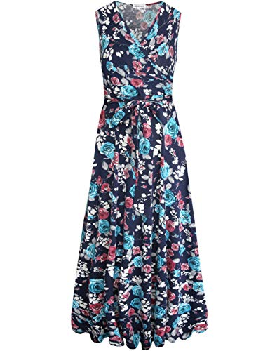 Vintage Hawaiian Long Dress - Aphratti Women's Sleeveless Faux Wrap V Neck Floral Vintage Long Maxi Dress Navy14902 X-Large