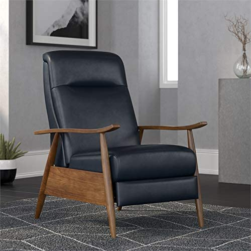 Comfort Pointe Solaris Midnight Blue Faux Leather Wooden Arm Push Back Recliner Chair