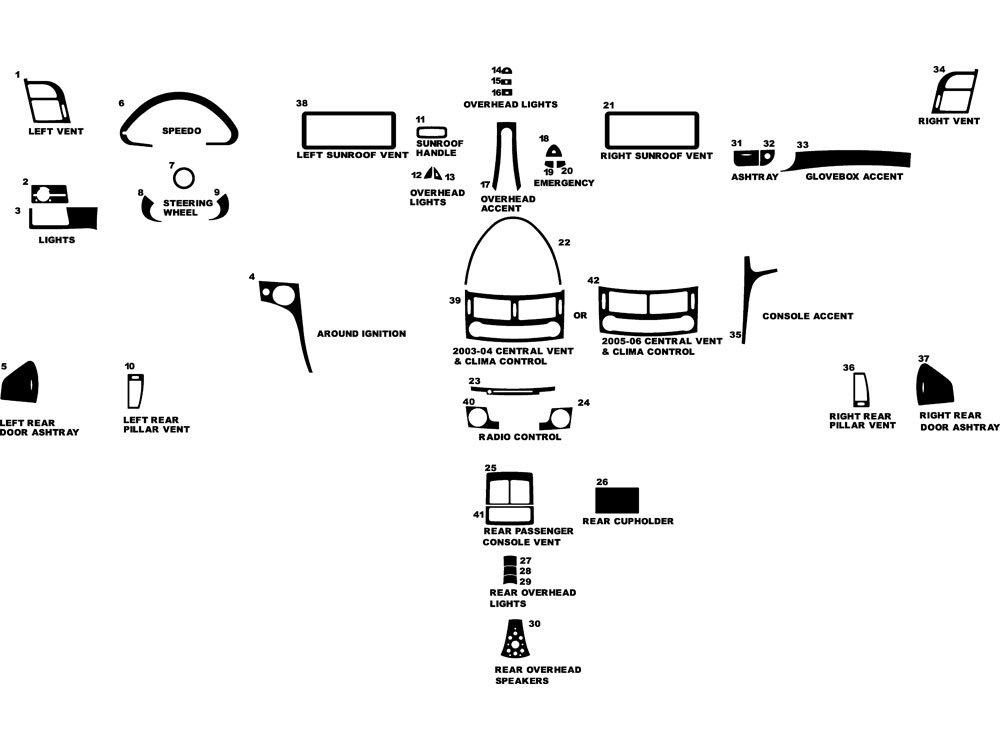 Rdash Dash Kit Decal Trim for Mercedes-Benz E-Class 2003-2011 - Wood Grain (Burlwood Honey)