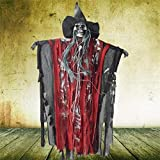 Voice Control Ghost Witch Hang Ghost Props,LtrottedJ Halloween Party Supplies Hanging Ghost Witch Voice Rot Light Eyes Kinder Gift (Red)