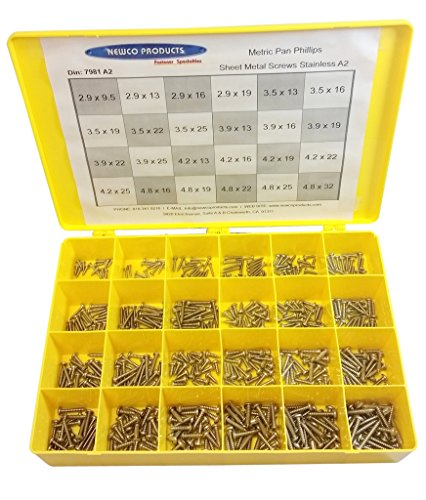 NEWCO PRODUCTS 7981A2ASST-Pan Head Phillips Stainless Steel A2-304 Sheet Metal Screws Assortment by NEWCO PRODUCTS