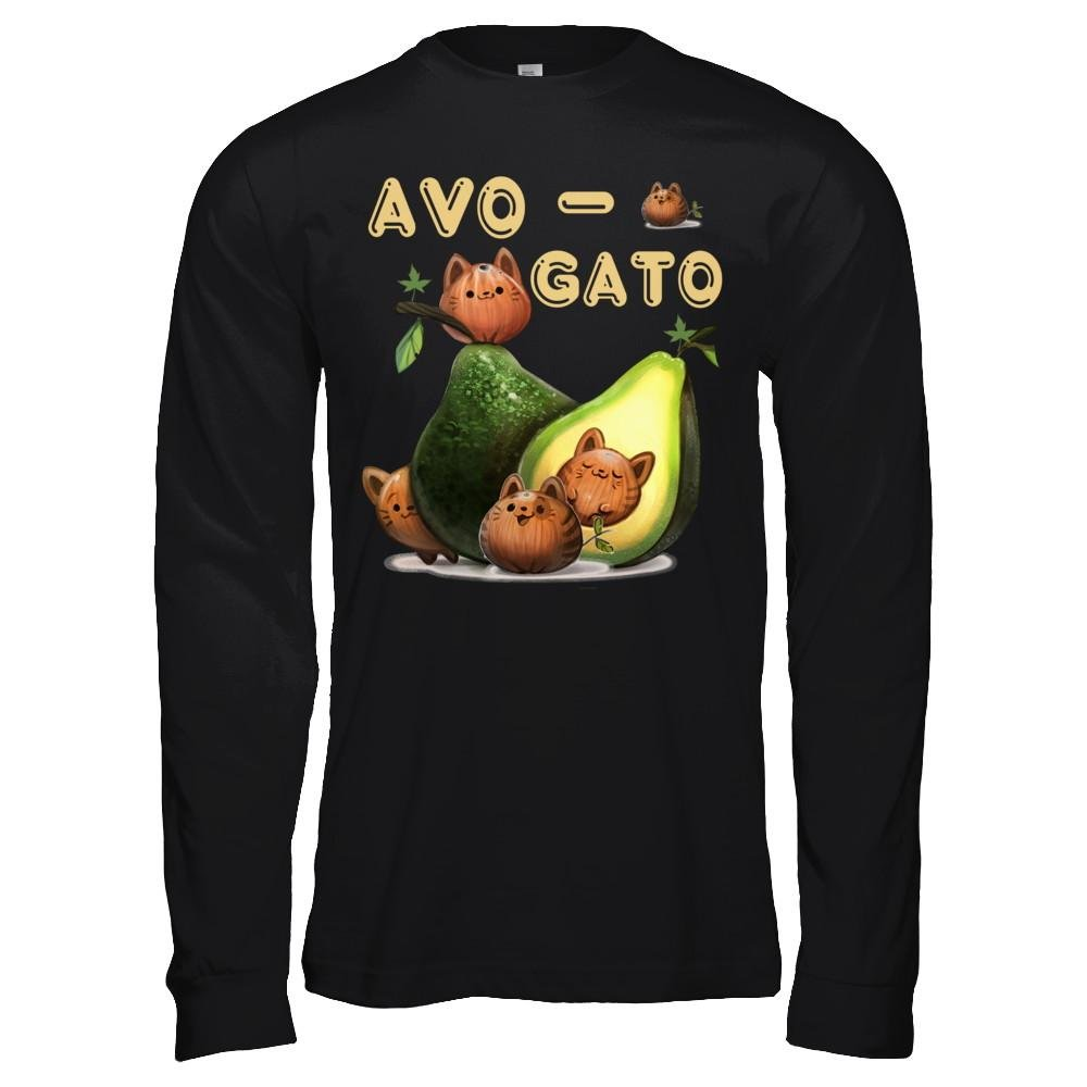 Teely Shop Men/'s AvoGato Avocado Cat Eating Funny Avocado Bella Canvas Unisex Jersey Long Sleeve Tee