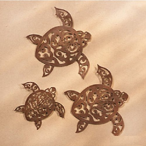 Gorgeous Laser Cut Tribal Turtle Wall Decor Set of 3