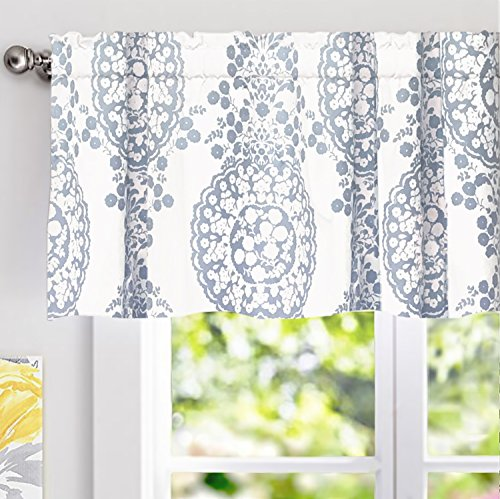 "DriftAway Samantha Window Curtain Valance, Floral/Damask Medallion pattern, Rod Pocket, 52""x18"" (Modern Window Curtains)"