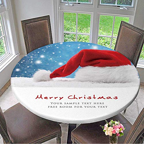 Mikihome Elasticized Table Cover Santa hat on Snow,Christmas Decoration. Machine Washable 40