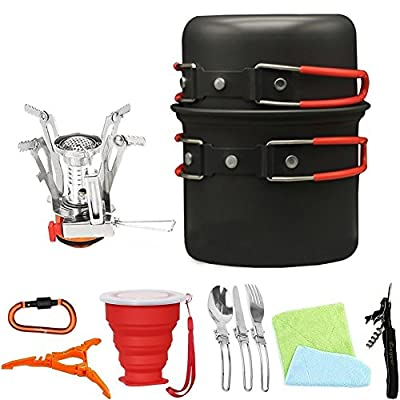 Bisgear 13pcs Camping Cookware Stove Carabiner Canister Stand Tripod Collapsible Cup Utensils Mess Kit Backpacking Cooking Gear Hiking Pot Pans Outdoors Cookset Bug Out Bag Wine Opener from Bisgear