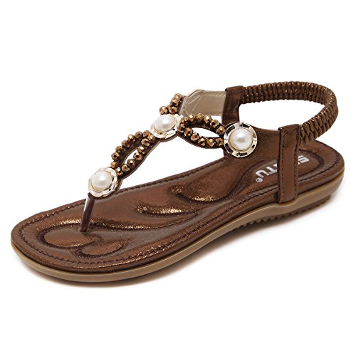 Bohemian Summer Vacation Flat T-Strap Thong Sandals, Glossy Chocolate Brown Open Toe Glitter Rhinestone Beads Shiny Golden Metal Pretend Pearls Shoes for Dressy Casual Jeans Daily Wear & Beach Holiday,Glossy -