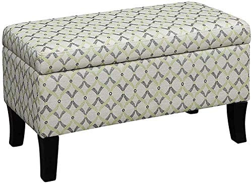 Convenience Concepts Designs4Comfort Winslow Storage Ottoman, Lime Ribbon Pattern