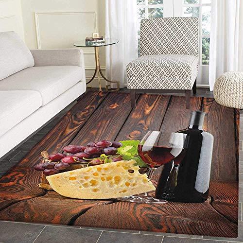 Floor Mat Rug Indoor/Front Door/Kitchen Living Room/Bedroom Mats Rubber Carpet Red Wine Cabernet Bottle Glass Cheese Grapes on Wood Planks Print Non Slip