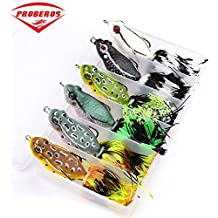 Proberos Frog Fishing Lures Soft Floating Baits Topwater Freshwater Bassbait for Trout Perch Bass With Fishing Tackle Box Set 6pcs